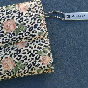 🐝Aldo rose floral cheetah print leather wristlet